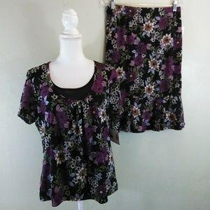 Black & Purple 2 Piece Dress L NWT